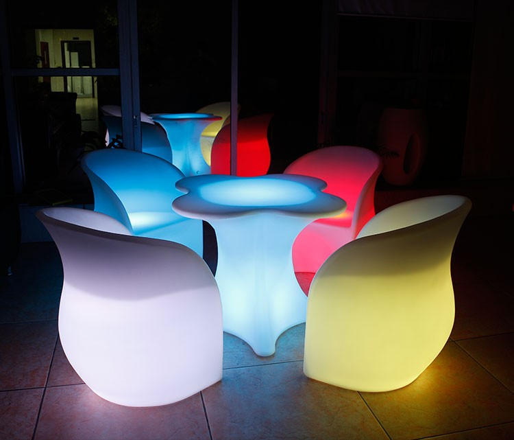 LED Furniture - LED Bar Table Chair Clover 04 - led flower pot light ×  led cube × led luminous balloon × led furniture for home × led light outdoor furniture × led wall unit furniture × led plastic outdoor furniture