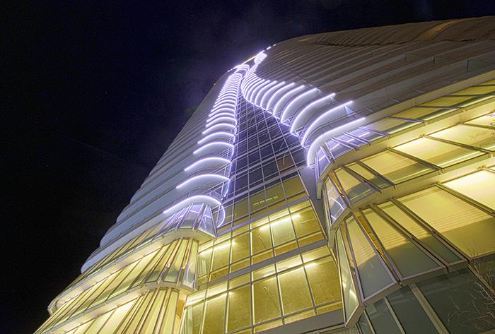 LED Lighting Skyscraper 2929 Weslayan, Houston - led lights on skyscrapers × skyscraper lighting × skyscraper lighting design 01