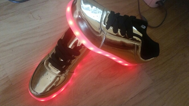 silver led shoes aliexpress - Kids LED Shoes With Light Metallic Silver