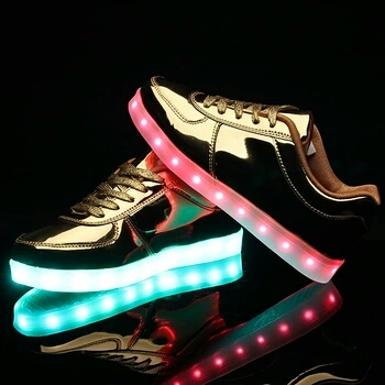 7 Colors LED Light Up Shoes Gold - led shoes aliexpress × app controlled led shoes × glowing sneakers