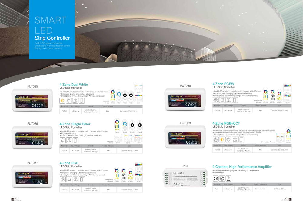 MiLight catalog 2.4GHz Series:  LED Strip Controller Series