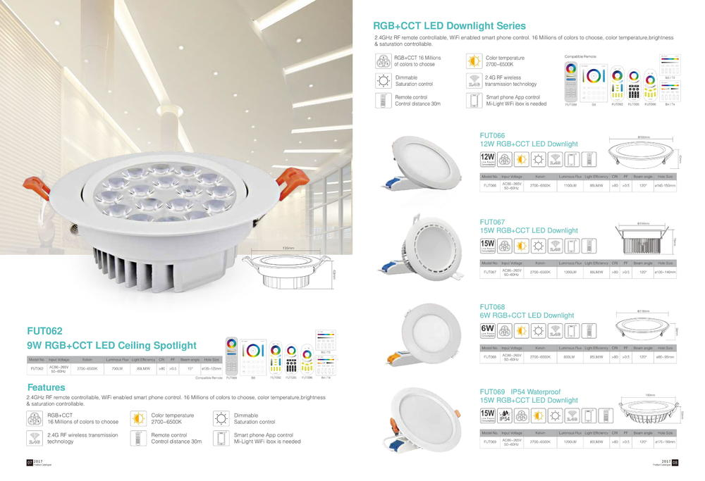 RGB+CCT LED Ceiling Spotlight / RGB+CCT LED Downlight Series - MiLight catalog 2.4GHz Series:  LED Downlight Series