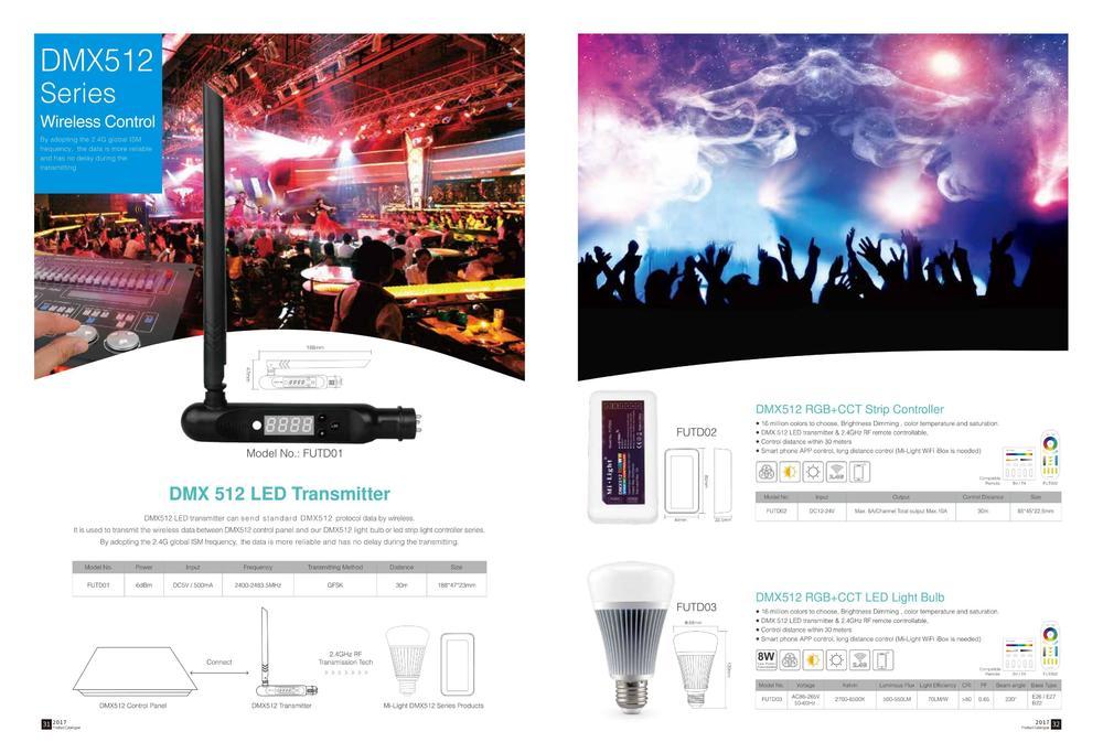 DMX512 LED Transmitter DMX512 RGB CCT Strip Controller DMX512 RGB CCT LED Light Bulb - Умное светодиодное освещение Mi-Light: Светильники, Смарт прожекторы, Лампы, Контроллеры и пульты - лампы mi light ×  milight лампочки × wifi контроллер milight × milight контроллер ×  mi-light пульт × mi light rgb контроллер × mi-light wifi контроллер × светодиодная лента × лампочки mi light × трековые светильники × светодиодные лампы × управление светом × светодиодное освещение × умное освещение ×  rgb прожекторы
