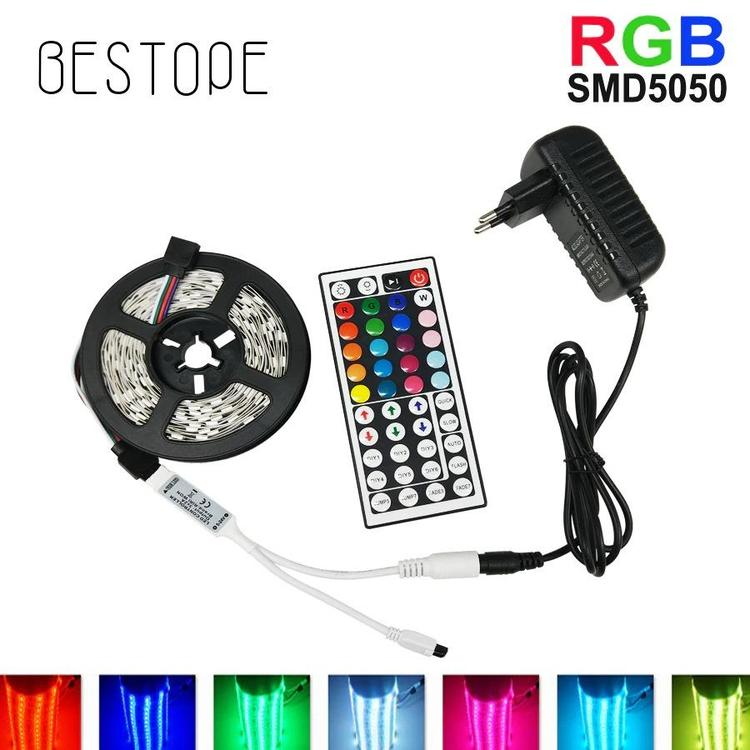 BESTOPE Official Store - RGB LED Strip Light 5050/2835 SMD RGB Tape 5M 10M LED Tape lamp flexible