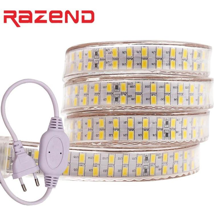 RAZEND Official Store - 240leds/m double row led strip Light 220v 110V SMD 5730 flexible tape 5630