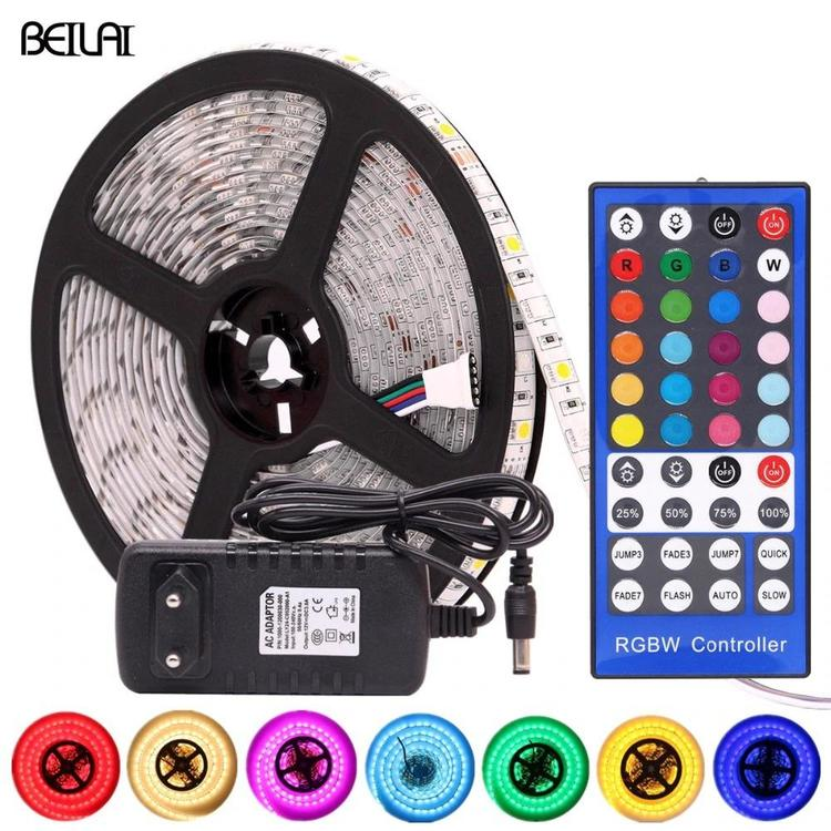 BEILAI Official Store - 5050 RGB LED Strip Waterproof DC 12V 5M RGBW RGBWW LED Strips Light Flexible