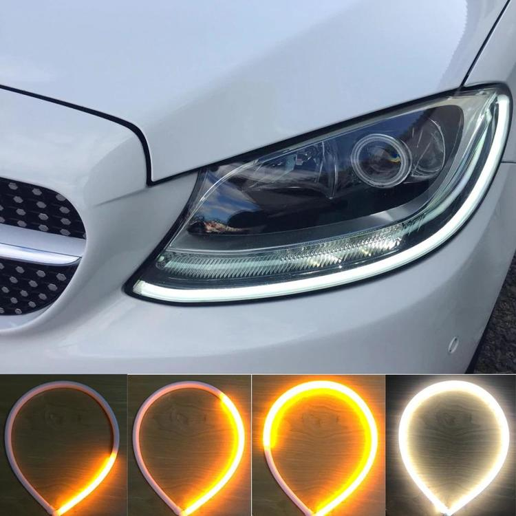 HengChiLun Pilotauto Parts Store - Running Lights Flexible Turn Signal DRL Strip LED White Amber