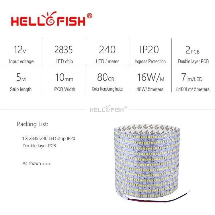 Hello Fish Official Store - 2835 LED strip SMD 1200 LED chip 12V LED Flexible PCB light LED