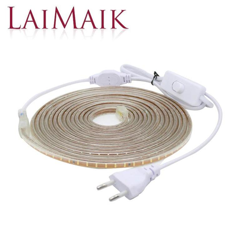 LAIMAIK Official Store - LED Strip Lights Waterproof with ON/OFF switch AC220V Flexible Led Tape 120