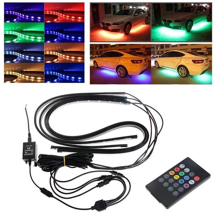Traveler - 90/120cm Car RGB LED Strip 5050 SMD DC12V 6000K RGB LED Strip Under Car Tube Underglow