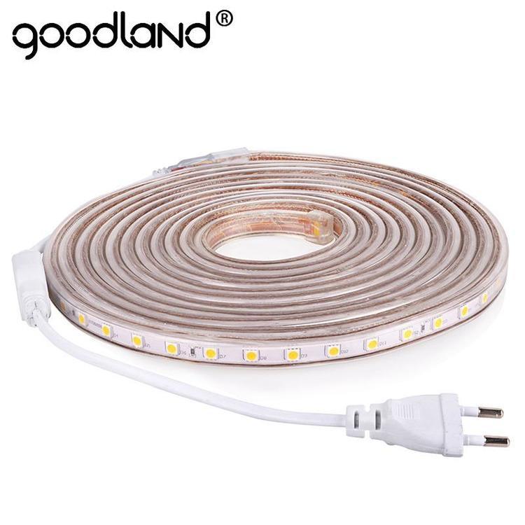 goodland Official Store - LED Strip Light AC 220V SMD 5050 Flexible LED Tape 60LEDs/m Ribbon