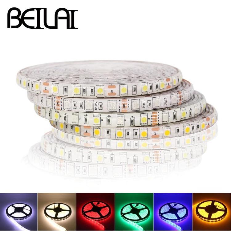 BEILAI Official Store - SMD 5050 RGB LED Strip Waterproof DC 24V LED Light Strips 5M 300LED 60LED/M
