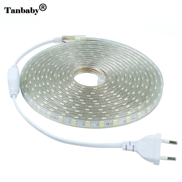 Tanbaby Official Store - 220V SMD 5050 LED Strip light 60 LED/M IP67 Waterproof Outdoor Indoor Decor
