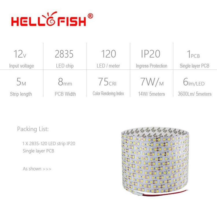 Hello Fish Official Store - 2835 LED Strip Single Layer PCB 600 Light 2835 SMD 12V Flexible LED Tape