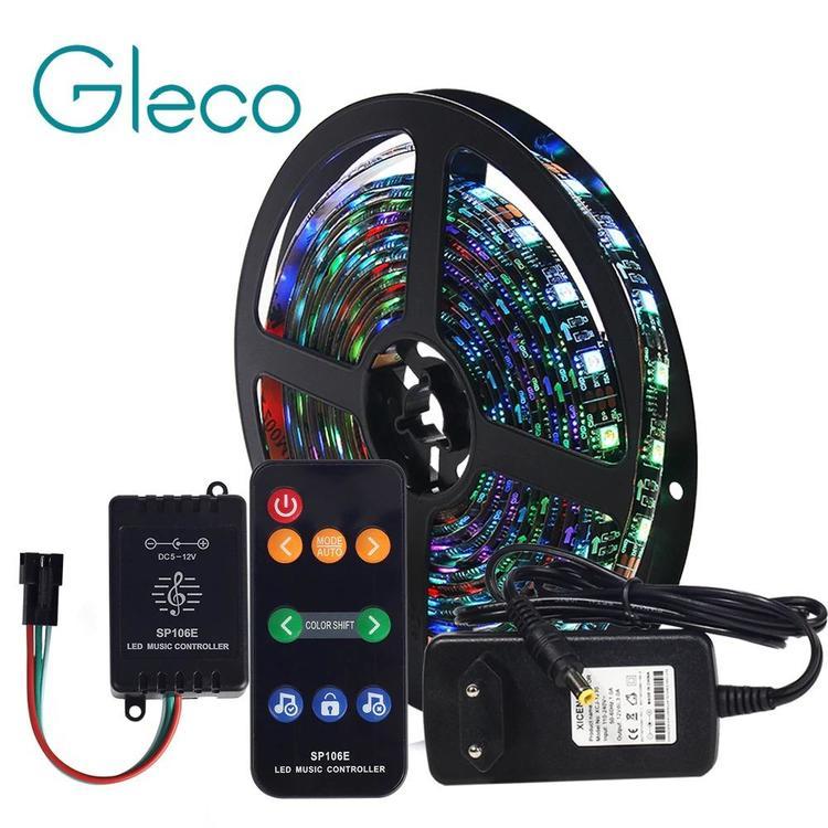 Gleco Official Store - Music control Dream color LED Strip set WS2811 LED Strip 5050 RGB 5M/Lot DC12