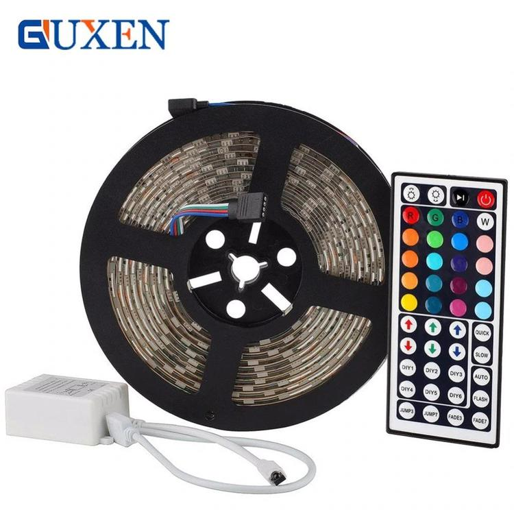 GUXEN Store - 5m/row 60leds/m Led strip DC12V SMD 5050 waterproof Flexible LED Strip Light RGB+44