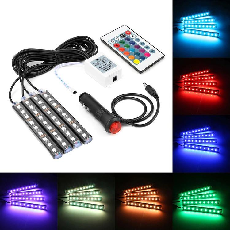 Geartronics Store - 4x 9 LED Car Colorful RGB Light Interior Floor Atmosphere Lamp Strip Universal