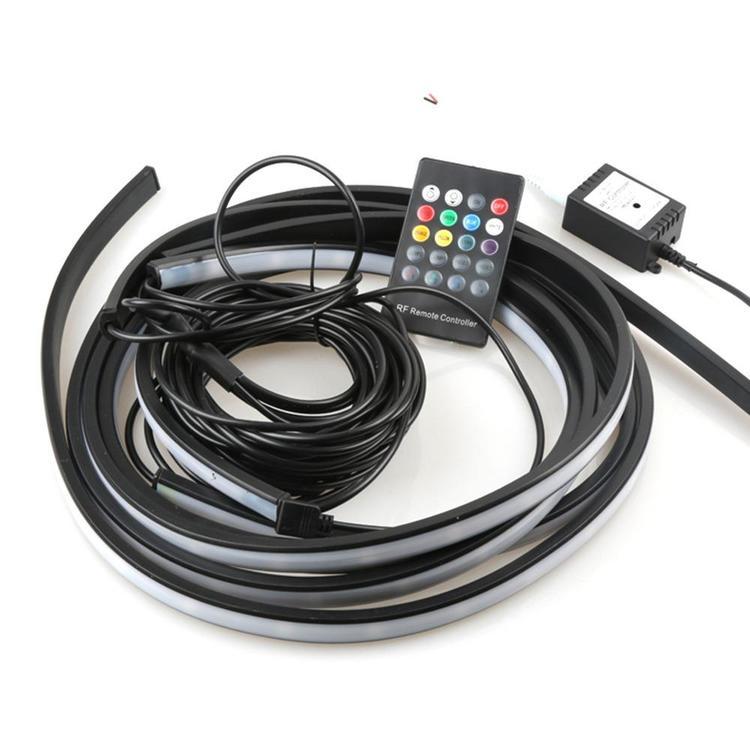 A1 Accessories Store - 4x Car Strip LED APP/Remote Control Underglow Flexible RGB Under Tube