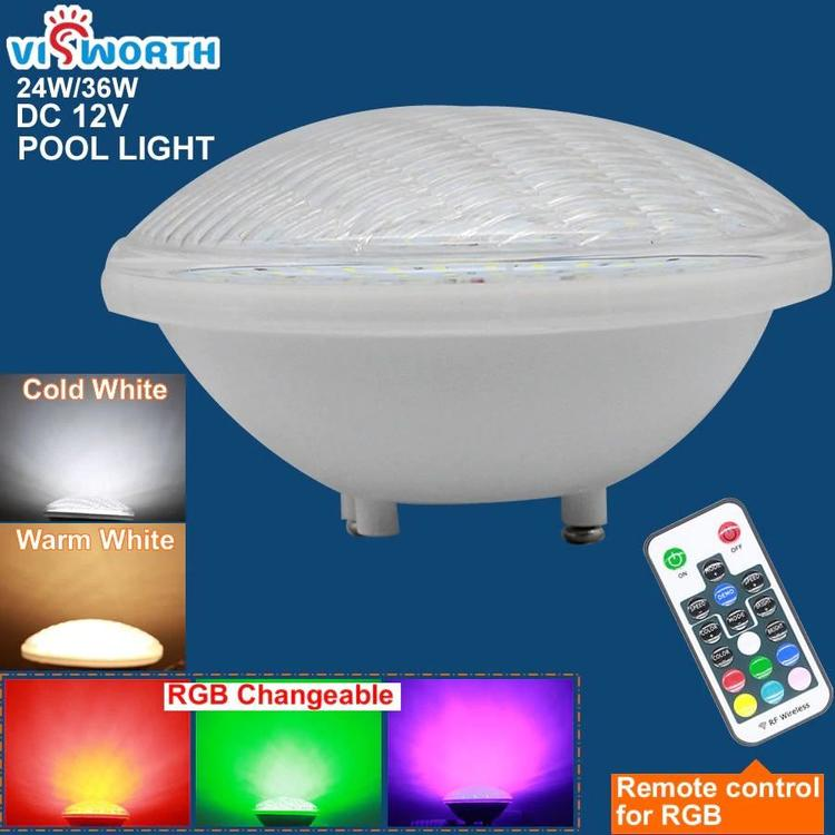 ViSTAR Factory store - 12v AC/DC Par56 Led Swimming Pool Led 24W 36W IP68 Pond Lights RGB Remote pool lights ×  pool lighting × pool light house ×  pool lamps × pool lampa