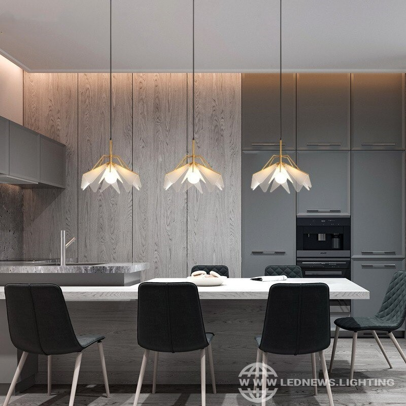 $206.00 Modern Simple Black/Golden LED Pendant Lights Acrylic Dining Room Creative Hanging Lamp Nordic Bedroom Bar Pendant Light