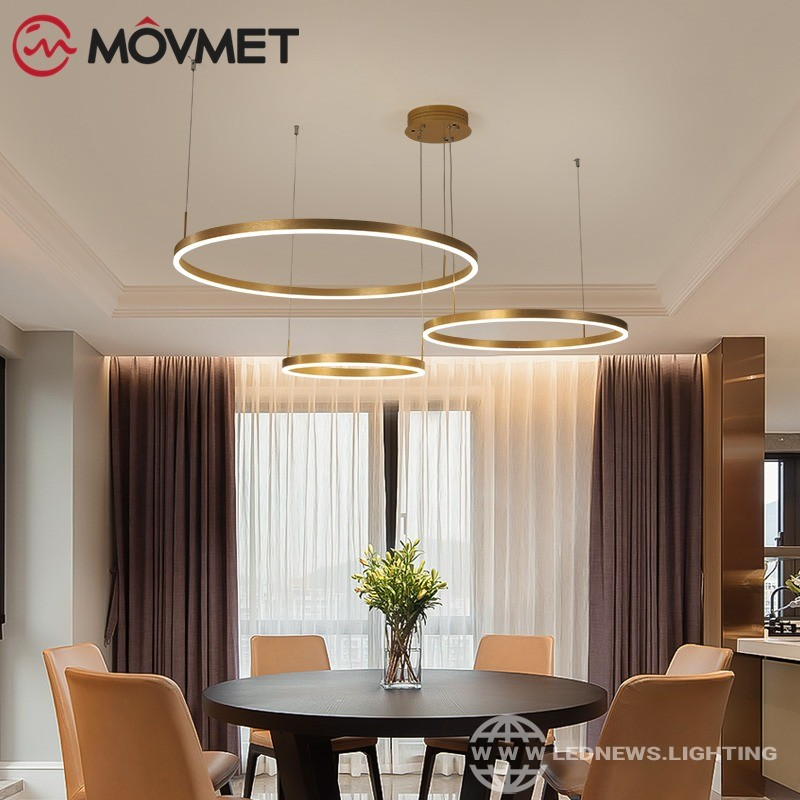 Post-Modern Led Chandelier Hme Lighting Brushed Rings Ceiling Mounted Chandelier Lighting Hanging Lamp Gold&Coffee color