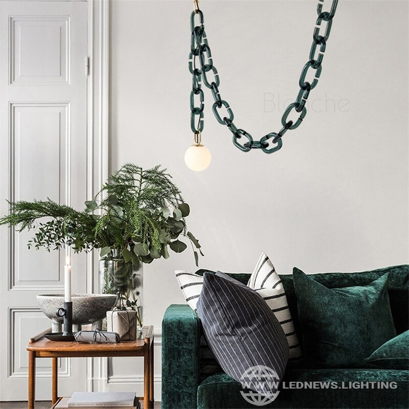 $409.38 Modern Glass Pendant Lamp Green Glass Art Chain Hanging Lamps Led Loft Fixutres for Home Living Room Bedroom Restaurant Lights