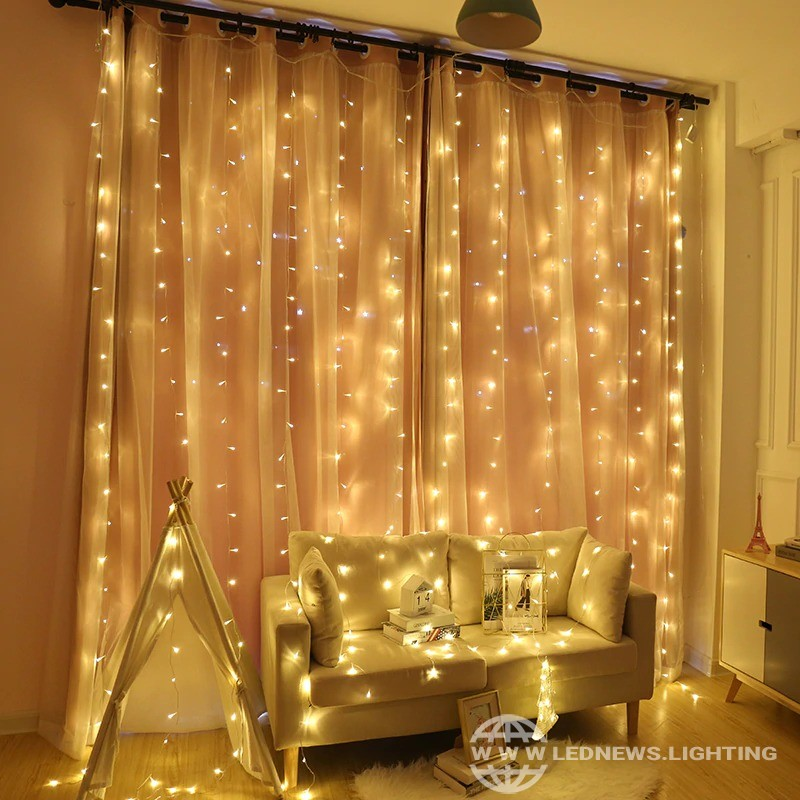 $9.25 - 31.89 2x2/3x2/6x3M Curtain LED Icicle String Light Christmas Fairy LED Garland Outdoor Lights For Home Wedding Party Garden Decoration