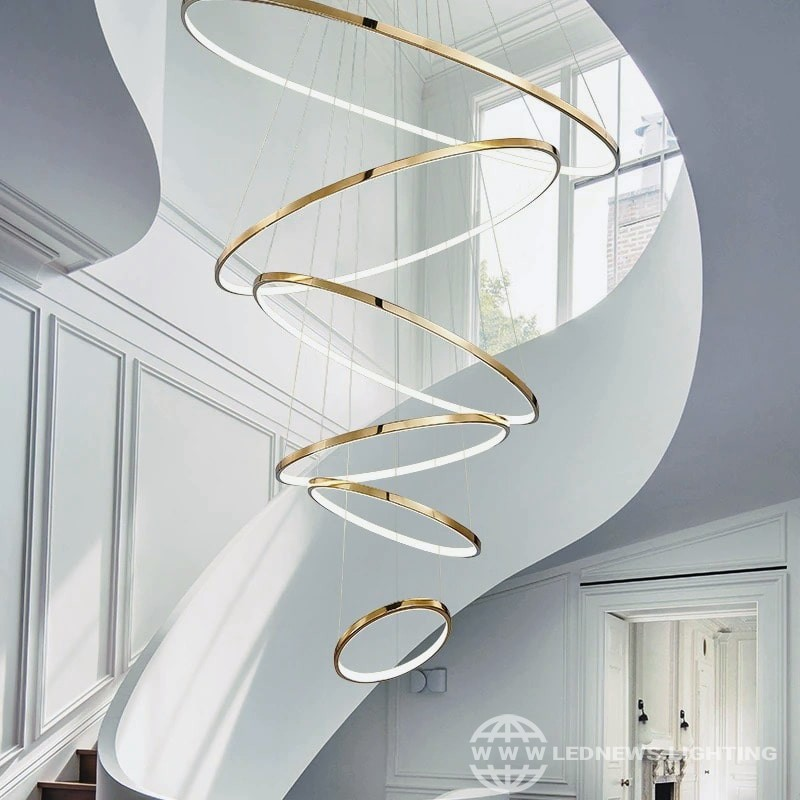$102.00 - 1,788.00 Golden luxury dining lamp duplex villa staircase large chandelier circular ring-shaped high living room lamps stainless steel