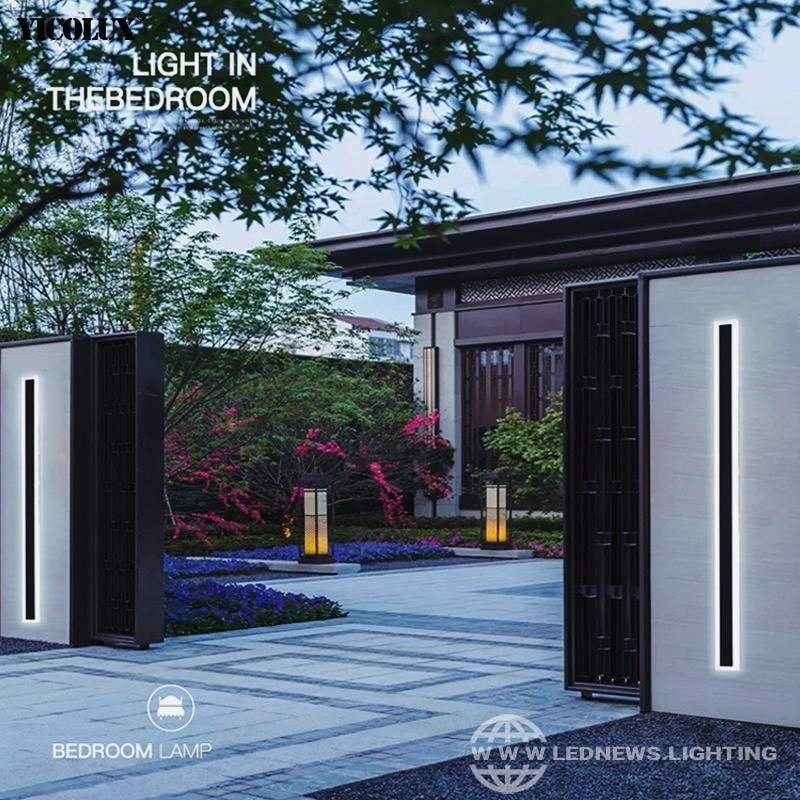 $28.43 - 141.17 Outdoor Waterproof Modern LED Wall Lights With Remote Living Room Bedroom Corridor Porch Black Indoor Lamp Lighting Dimmable