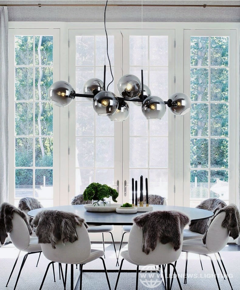 $138.25 Modern Led Clear Globe Bubbles Pendant Lamp Bar Dining Room Furniture 8 Heads Decorate Hanging Lamp Glass Light Fixtures E27